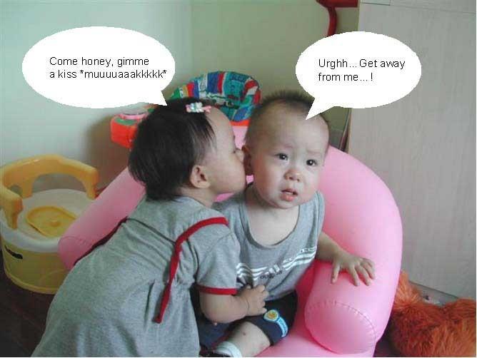 Little Boy Kiss Girl